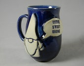Garden Gnome quot Gnome Sweet Gnome quot Quote Talk Bubble Coffee Mug Tea Cup Glossy Navy Blue White Handmade Ceramics Pottery