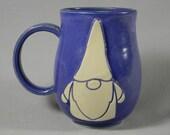 Garden Gnome Coffee Mug Tea Cup Purple White Handmade Ceramics