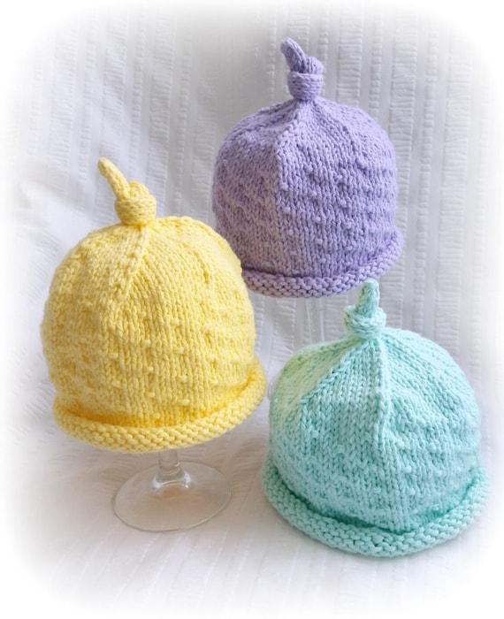 Baby Beanie Hat Pastel YELLOW Hand Knit Infant Beanie with  601eadec7a7