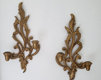 Vintage Pair Gold Syroco Wall Candleabras/Hollywood Regency/Scroll/Floral