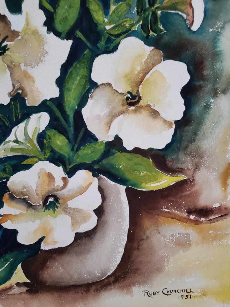 Unframed 1951 Vintage Azalea Watercolor