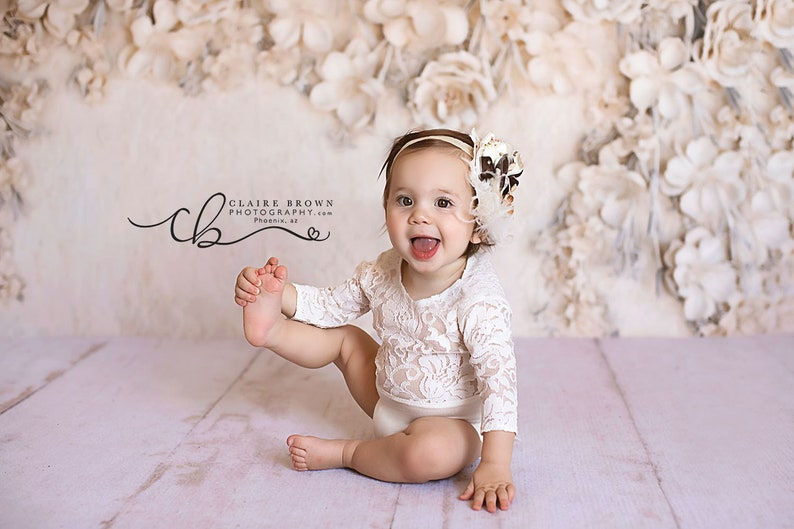 8db6ebc5bac Lace Sitter Romper Ivory Photo Prop Outfit 6-9 Or 9-12 Month