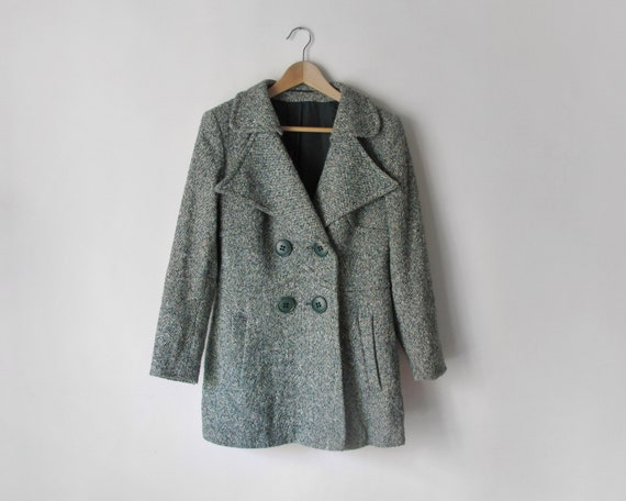 1970s Short Green Coat • Speckled Wool Tweed Coat