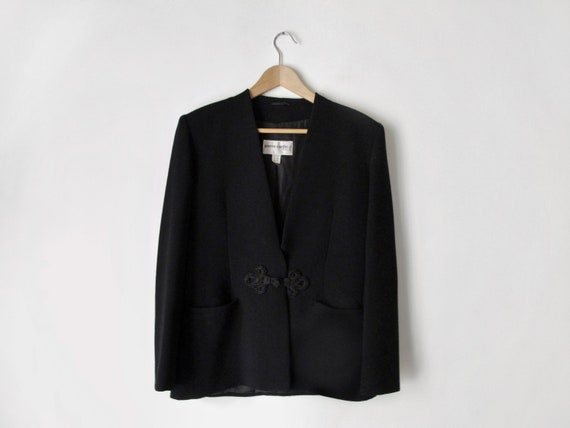 1990s Pierre Cardin Black Jacket • Formal Shawl Co