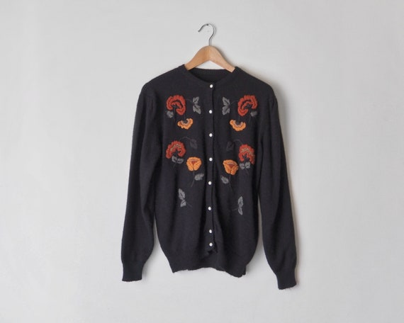 1970s Black Embroidered Cardigan • Floral Embroide