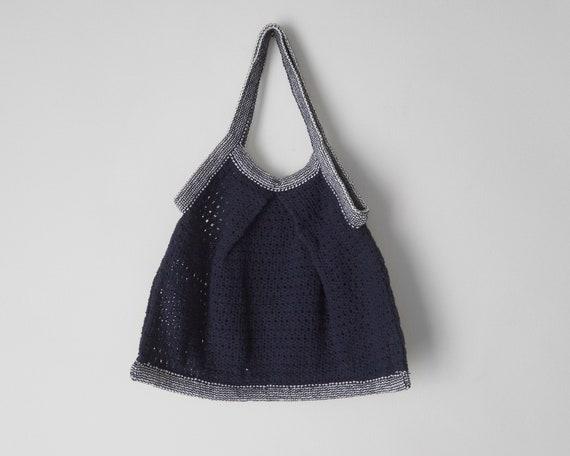 1960s Navy Crochet Handbag • Vintage Crochet Bag … - image 3