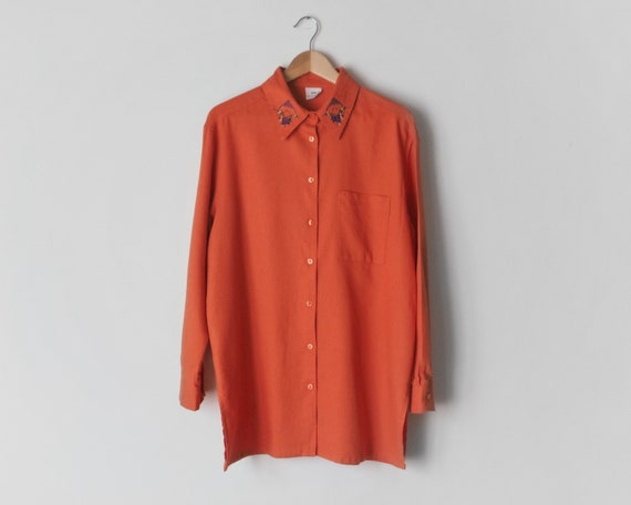 1990s Oversized Orange Blouse • Embroidered Collar