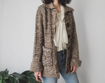 1970s Brown Fleck Cardigan • Long Knitted Cardigan • Collared Cardigan Sweater • S/M