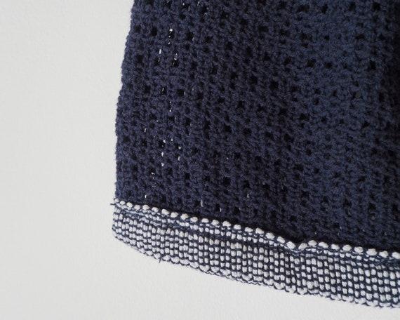 1960s Navy Crochet Handbag • Vintage Crochet Bag … - image 5