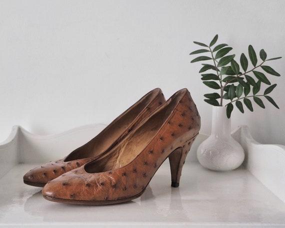 1980s Celine Tan Ostrich Pumps • Vintage Celine He