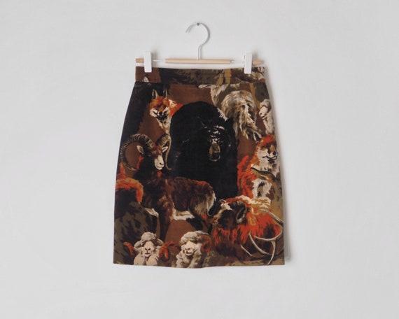 1980s Kenzo Jungle Velvet Skirt • Kenzo Skirt with