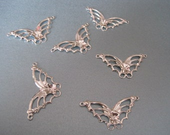 6 Bright Silver Plated Steel Butterfly Butterflies Connector Stamping Charm 33mm x 19mm