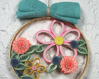 Wall hanging, decorative frame, decorative hoop, quilled garden, quilled flowers,quilling