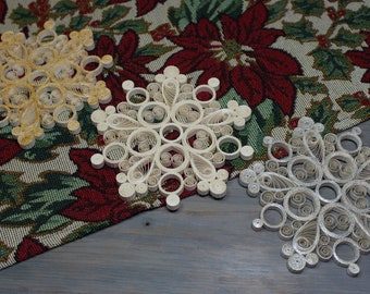 Snowflake, Christmas decoration, New 2021 Collection, quilled snowflake, white, silver, gold,  tree decoration, ornament, quilling