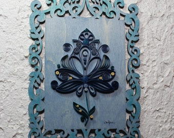 Frame, decorative frame, paper art, quilling art, quilled lotus, blue lotus, lasercut frame, home décor, wall hanging