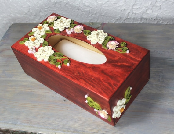 Wooden Paper Tissue Boxquilled Decorative Boxquilled Kleenex Etsy Best Decorative Kleenex Box Covers