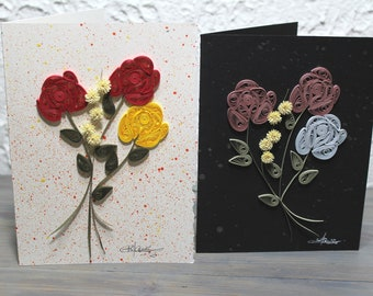 Wish card, greeting card, quilled roses, roses,bouquet of roses, blank card, quilling