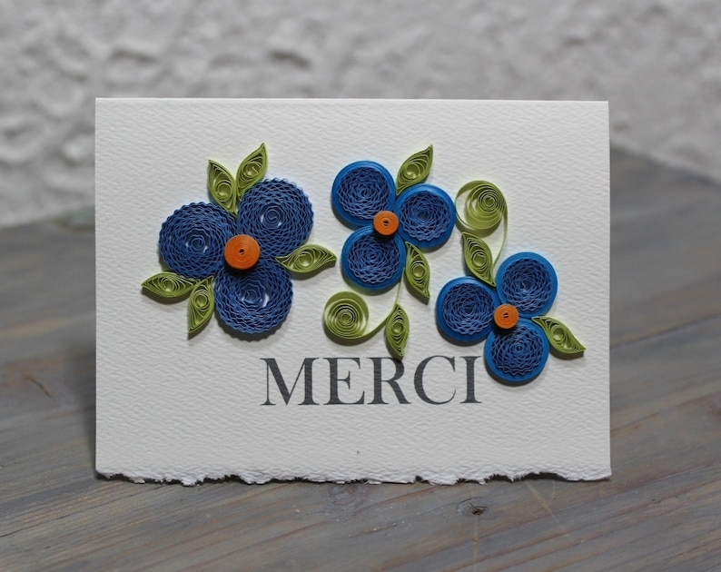 thank you card quilled cards blank card quilled flowers  etsy