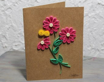 Wish card, greeting card, quilled daisy, daisies, blank card, quilling