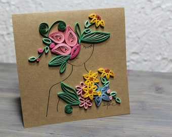 Greetings card, wish card, quilled card, square card, young girl with flowers in her hair, quilled flowers, kraft cardstock