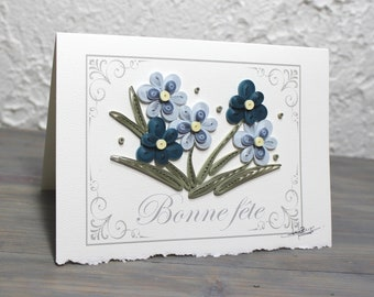 Birthday card, greeting card, quilled card, quillling, quilled flowers, shades of blue, blank card, rolled paper art