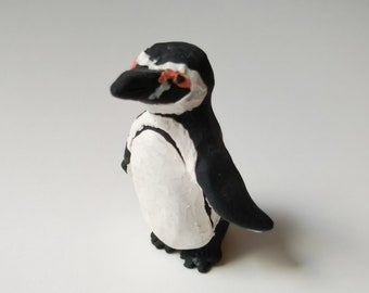 Handmade Clay Penguin, Penguin Figure, Miniature Decor
