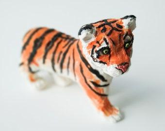 Handmade Clay Tiger, Tiger Figure, Siberian Tiger, Miniature Decor