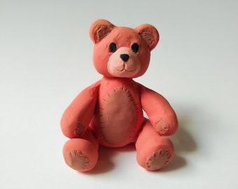 Handmade Clay Teddy Bear, Toy Bear, Bear Figure, Miniature Decor