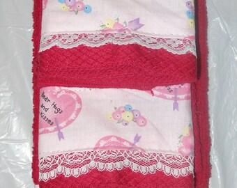 red valentine dish towel & cloth set