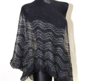 Goth Scarf, Hand Knit Shawl, Knitted Shawl, Triangle Shawl, Mohair Shawl, Black, Gray, Red, Pink, Scarf, Christmas Gift Idea for Her