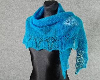 Turquoise knit scarf, Hand knit scarf, Turquoise, Knitted scarf, Knit lace shawl, Lace knitted shawl, Knitted shawl, Alpaca scarf,Bride gift