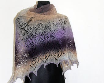 Knit lace shawl, Purple, Spring shawl, Knitted shawl, Shawl wrap, Wool shawl, Ombre shawl, Knit lace shawl, Friend gift, Mothers day gift