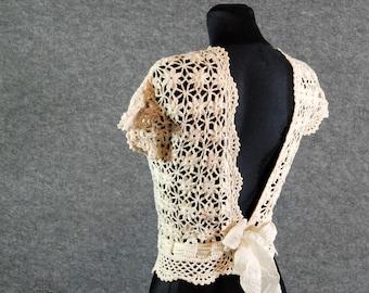 Wedding dress topper, Lace top wedding, Ivory lace top, Lace top bridesmaid, Crochet lace top, Wedding top, Modest wedding dress