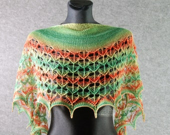 Knitted lace shawl, Leaf pattern scarf, Knitted shawl, Knitted scarf, Spring scarf, Knit shawl, Knit lace shawl, Summer shawl, Gift for wife