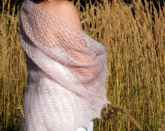 Mohair wedding shawl, Pale pink shawl, Knit shawl, Knitted shawl, Wedding shawl, Bridal cape, Wedding cape, Bride gift, Gift for mom