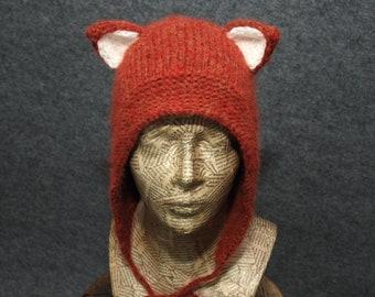 Knitted fox ears hat, Grey wolf hat with ears, Cat ears cap