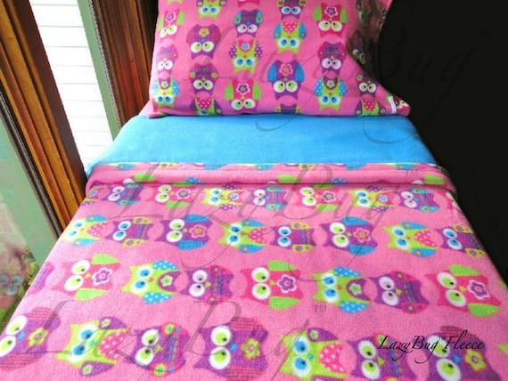 kinder bettw sche set rosa eulen f r m dchen etsy. Black Bedroom Furniture Sets. Home Design Ideas