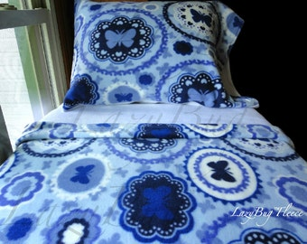 Toddler Girl Fleece Bedding Set  'Butterfly Blue' Handmade Fits Crib and Toddler Beds