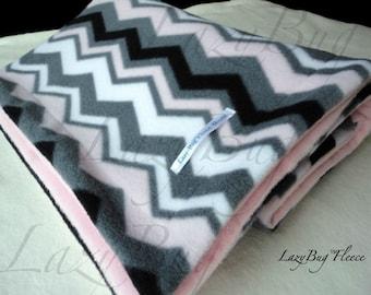 Pink Gray Chevron Fleece Toddler Baby Blanket for Babies (30x40)