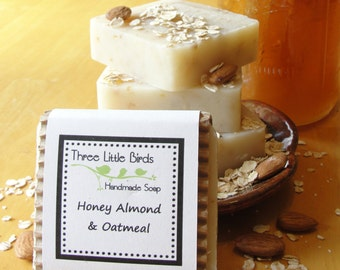 Honey Almond and Oatmeal Soap, Handmade, All Natural, Cold Process Soap