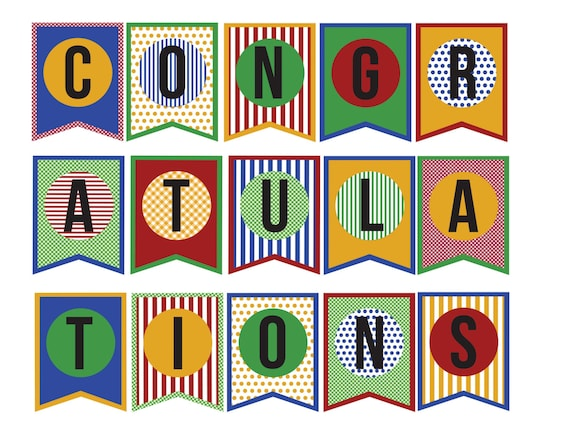 congratulations banner diy paper printable banner instantly etsy