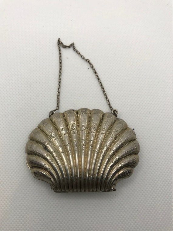 Rare Sterling Silver Shell Coin Purse - image 1