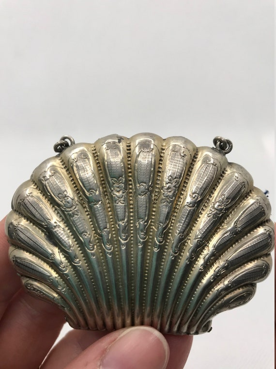 Rare Sterling Silver Shell Coin Purse - image 4