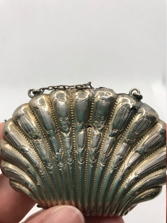 Rare Sterling Silver Shell Coin Purse - image 5