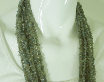 Set of 9 Labradorite Nugget Bead Necklaces 34 Inches 7mm Beads