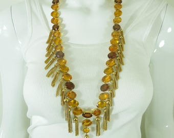 1970s Runway Kramer Huge Necklace Earrings Topaz Amber Glass Stones Openback Unfoiled Tassels 31 Inches