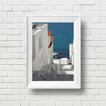 Travel photography, Greece island photo, Mediterranean decor, white, blue, summer photography, home office decor, wall art