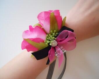 Hot Pink, Fuschia, Magenta Roses Wrist Corsages