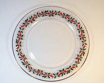 Vintage CHRISTMAS DESSERT PLATES Set/4 Holly Berries Arcoroc France  sc 1 st  Etsy & Arcoroc holly plates | Etsy