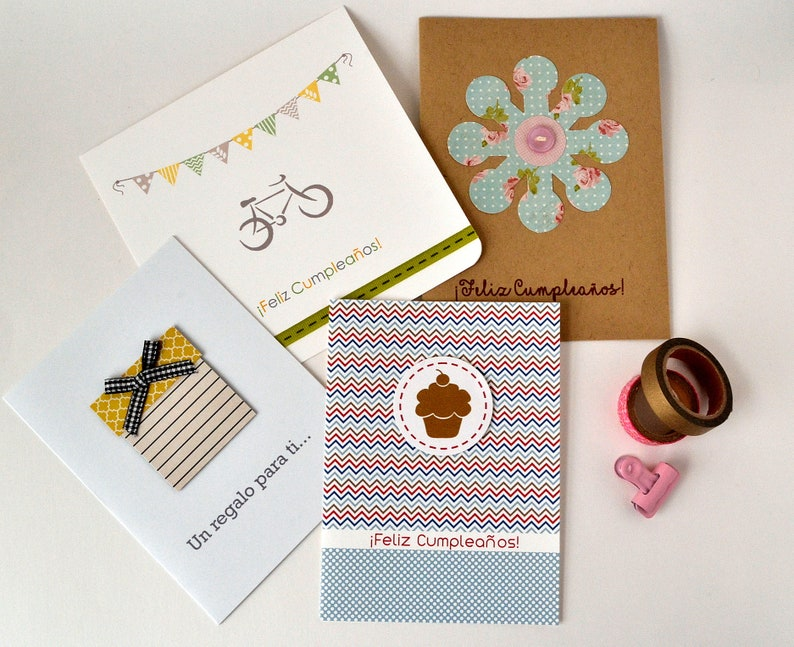 Spanish Birthday Card Set Assorted Cards